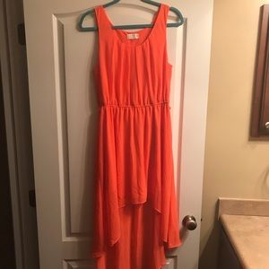 Neon coral hi-low dress